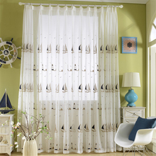 byetee Sailing blue curtain window screen products customized embroidery curtains child baby boy bedroom curtain