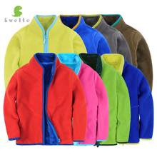 Svelte Brand Winter for Children Boys Girls Unisex Soild Color Lining Fur Thick Down Fleece Jackets Kids Outerwear Coat Clothes(China)