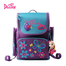 Delune Brand Kids Cartoon School bags safe Orthopedic children school Backpack For Girls School Bags For 1-3 Grade class Student(China)