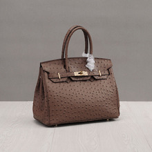Bolsa Feminina 2017 Brown Lock Hasp Bags Handbags Women Famous Brands Ostrich Split Leather Casual Tote Fashion Shoulder Bag NEW(China)