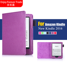 "For New Kindle 2016 8th Generation Ebook 6"" PU Leather Litchi Texture Cover Case For 2016 New Kindle 8th 6inch"