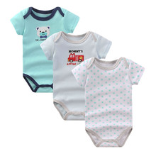 Baby Boys Rompers Clothes Summer Newborn Boy Girl 3 pcs/lot 100% Cotton Short Sleeve Costume Next Body Baby Romper Clothing R-05(China)