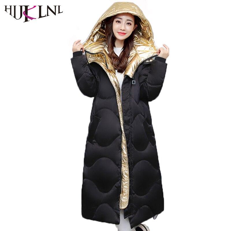 HIJKLNL Winter Jacket Women Parka 2017 Winter Thick Long Hooded Cotton Padded Jacket Shiny Metal color Overcaot chaquetas NA470Îäåæäà è àêñåññóàðû<br><br>