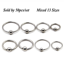 50pcs/set Stainless Steel Captive Bead Ring Nose Ring Earring Septum Lip Piercing BCR/CBR(China)