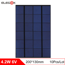 ELEGEEK 10pcs 4.2W 6V DIY Solar Cell Panel Polycrystalline Mini Solar Panel Battery for Test and Education 200*130mm(China)