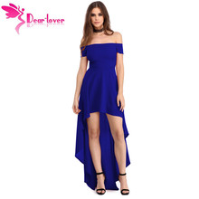 Dear Lover Sexy Party Gown 2017 Summer Women Blue High Low Hem Off Shoulder Dress Vestido de Verao Robe De Soiree Longue LC61437