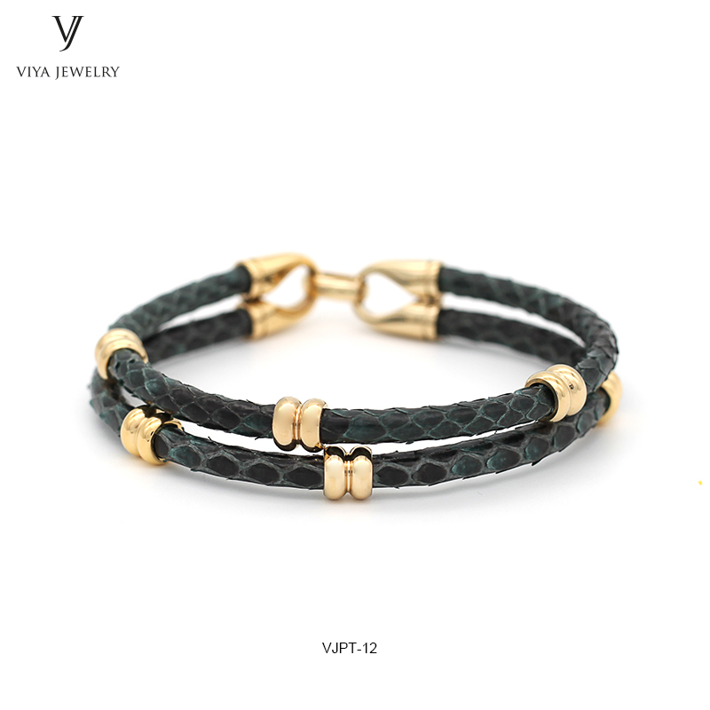 GENUINE PYTHON LEATHER MEN BRACELET WITH GOLD COLOR STAINLESS STEEL BEADS CLASP,BEST GIFT FOR MATCH UP WATCH (2)