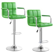 2 PC High quality Swivel Office Furniture Computer Desk Office Chair in PU Leather Chair bar stool New  HW50133-2GN