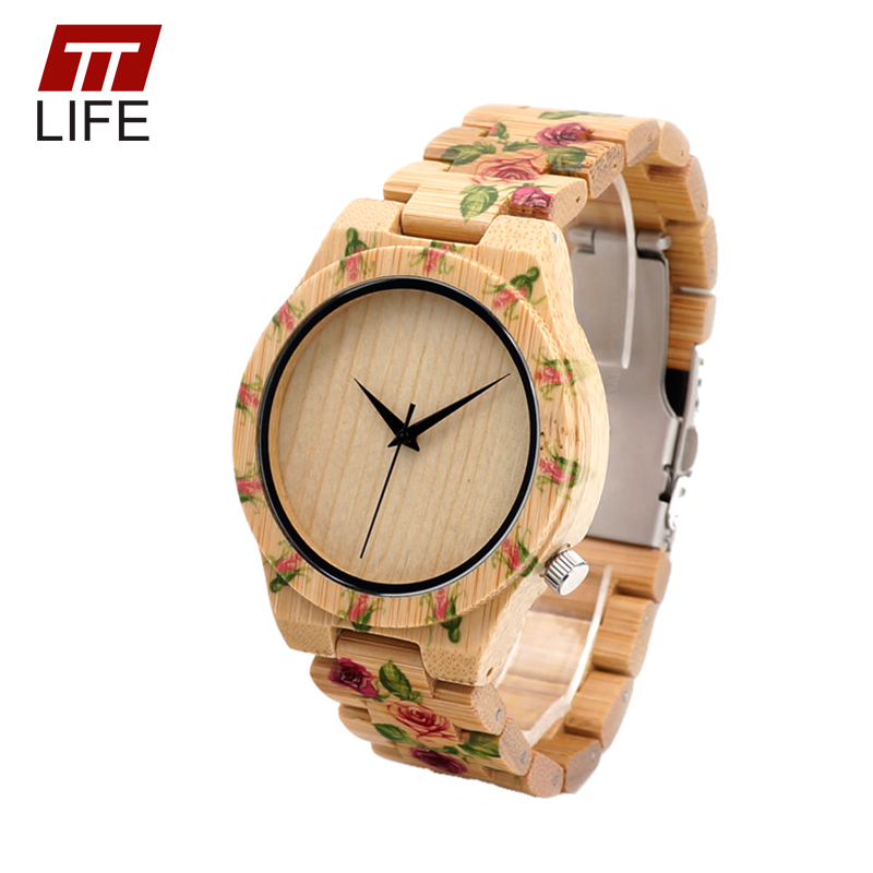 TTLIFE Men Women New Fashion  Print Flower Designer Wood Watches with Wood Bands round Dial Quartz Watches in Metal Box  D21<br><br>Aliexpress