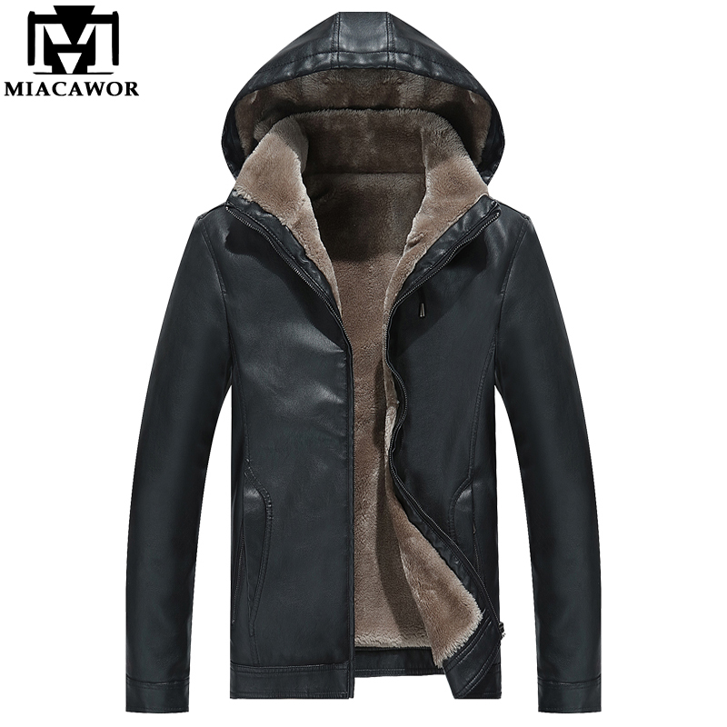 MIACAWOR New Winter Leather Jacket Men Hooded PU Faux Leather Coats Fleece Warm Windbreaker Chaqueta Hombre Men Clothing J564