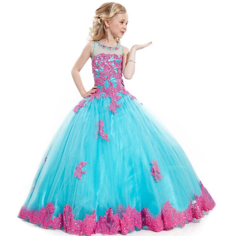 Бисером Тюль Красный Аппликация Вышивка Девушки Glitz Pageant Платья Девочки Платье Великолепная Театрализованное платья для 12 лет(China)