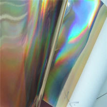 30X134CM Iridescent Leathe, Faux Leather Fabric, Synthetic Laser Holographic Tela Curero Leather with Radium ColorFul Film P1562(China)