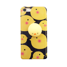 2017 Fashion cartoon soft 3d rubber joy doll venting toys sock pinch baby yellow chick flare imd tpu cell phones case For Iphone