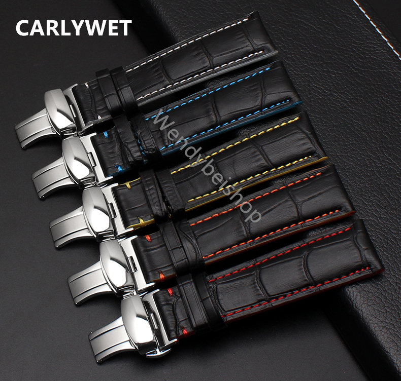 18 20 22mm Man Women Real Calf Leather Black Orange Blue Yellow White Handmade Stitches Wrist Watch Band Strap Belt Silver Clasp<br><br>Aliexpress