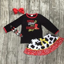 Girls fall boutique clothes baby girls cow girls outfits top with skirts sets children cow girls party clothes with accessories(China)