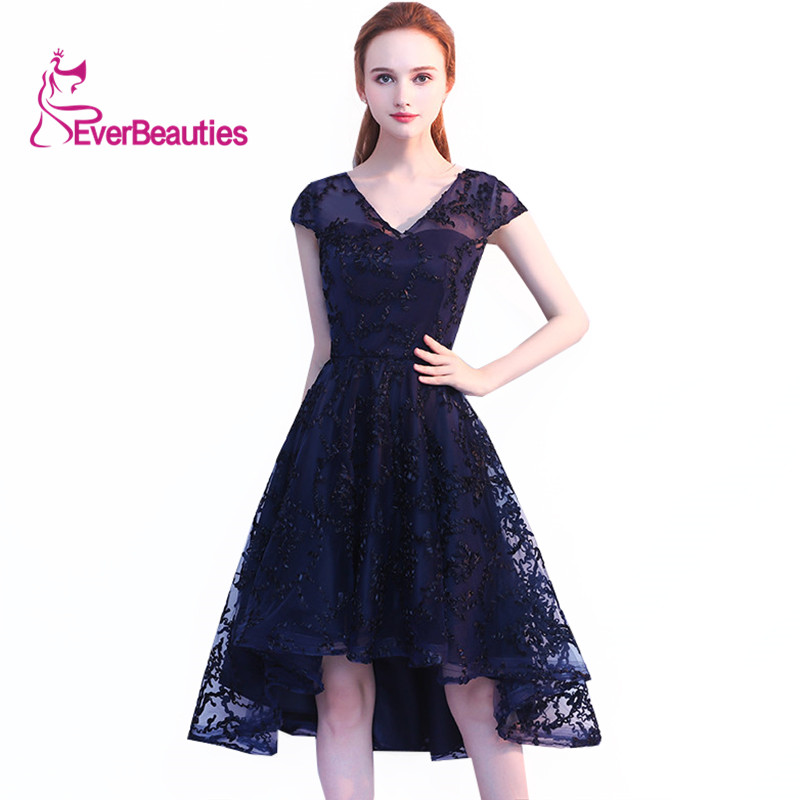 Evening Dresses 2019 V Neck Front Short Back Long Lace Tulle Cap Sleeve Elegant Party Prom Dresses Vestidos De Graduacion Cortos
