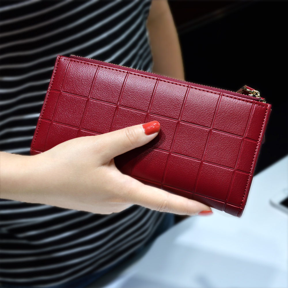 Women Leather Purse Plaid Wallets Long Ladies Colorful Walet Red Clutch 10 Card Holder Coin Bag Female Double Zipper Wallet Girl(China (Mainland))