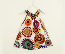 Girls Dresses Baby Kids Vintage Retro Printed Pattern Chiffon Dresses Children Fashion Cute Clothes Wholesale Price