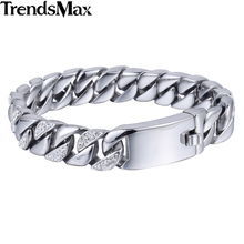 Trendsmax 12/14mm 316L Stainless Steel Curb Chain Bracelet w/ Rhinestone Womens Mens Boys Wholesale Jewelry HB394 HB395(Hong Kong,China)