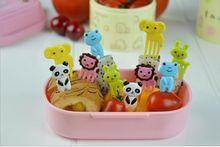 10pcs/set Animal Farm Mini Cartoon Fruit Fork Sign Resin Fruit Toothpick Bento Lunch for Children Decorative Plastic Sign(China)