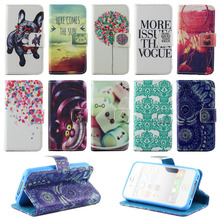 Printed Cute Dog Froal Stand Card Holder Design Leather Flip Case Cover For iPhone 4 4S 4G Protector Wallet PU Capa for iphone4