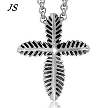 JS Vintage Steampunk Men Titanium Leaf Pendant Long Tribal Cross Necklace Antique Rock Gothic Native American Jewelry TN012(China)