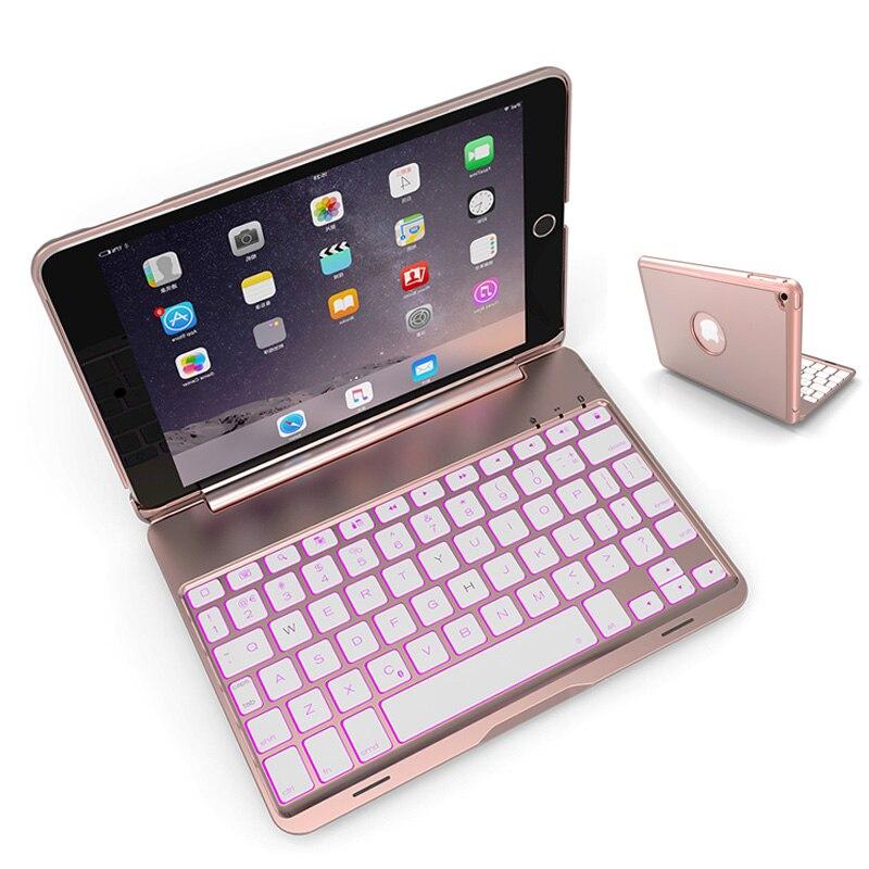 For iPad Mini 4 Wireless Bluetooth Keyboard Case For iPad Mini 4 Tablet Aluminum Alloy Stand Cover Flip Capa +Stylus<br>