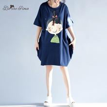 BelineRosa 2017 Summer Dresses Korean Kawaii Style Girls Printting Women's Large Size Dress Female Fit L ~ 3XL TYW0220(China)