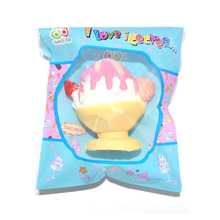 25 Pieces/lot 9cm New Yummy Ice Cream Squishy Slow Rising Food Toy Collectibles Strawberry Toy  Wholesale