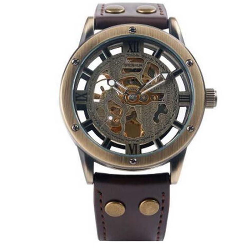 Fashion unique Design Hollow Engraving Black Gold Case Leather Skeleton Mechanical Watches Men Luxury Brand  Mechanical relogios<br>