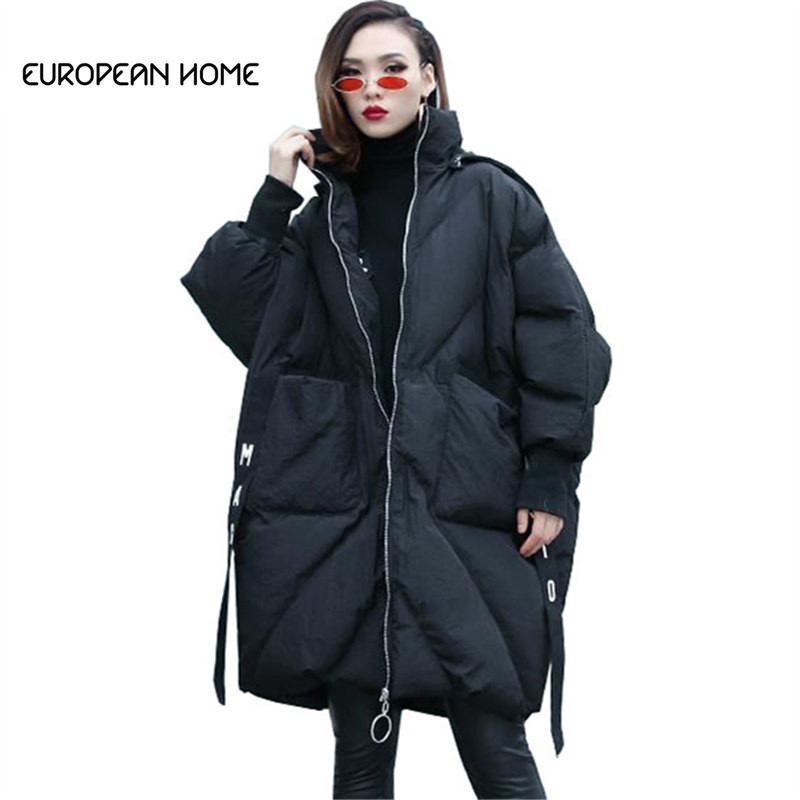 Winter Jacket Women Warm Cotton Long Coat Clothes New Streetwear Parka Plus Size Bat sleeve Hooded Thick Overcoat Women LQ495