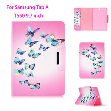 New Painted Flip Leather Case For Samsung Galaxy Tab A 9.7 T550 T555 P550 9.7 inch Back Covers tablet Flowers Card Shell Housing