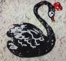 25*20 CM Black Swan Sequins Clothes Embroidered Iron on Patches for Clothing DIY Stripes Motif Appliques parches Accessory @DD7(China)