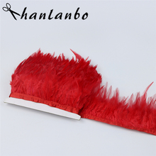 hot red rooster saddle feather Fringe strip 1yard Height 8-10cm natural Rooster Feather Trimming high quality clothing making(China)