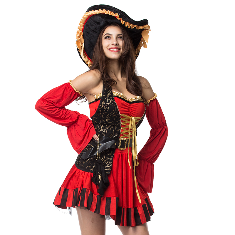 Ladies High Quality Bucanneer Pirate Hat Ladies Fancy Dress Accessory Hat with Feather