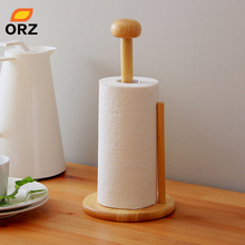 ORZ Rubber Wood Paper Towel Holder Kitchen Tissue Holder Household Roll Paper Stand Kitchen Tool