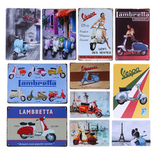 Lambretta Electrombile Metal Signs Vespa Electrocar Vintage Wall Art Painting Plaque Car Garage Parlor Shop Tin Poster YN109