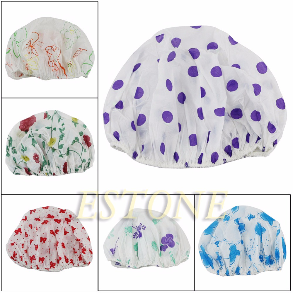 Waterproof Women Elastic Lace Shower Bouffant Hair Bath Cap Hat Spa Protect Fm88 Sale Price Bath Beauty & Health