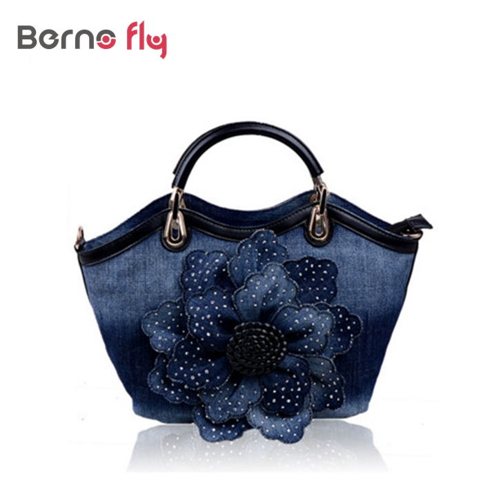 2017 Lady Tote Bag Women Denim Bags Sweet Blue Rose Pattern handbags for ladies Crossbody bag With Diamond solid Messenger Bag<br><br>Aliexpress