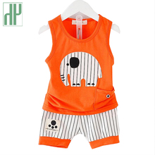 Baby boy clothes Brand summer kids clothes sets t-shirt+pants suit animal elephant baby girl outfit tiny cottons clothing sets(China)