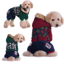 Plaid Pet dog clothes for small dogs jackets coats pet clothes dogs clothes winter cotton pet clothing costume S-XXL(China)
