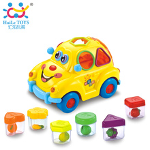 HUILE TOYS 516 Baby Toys Electronic Car with Music & Light & Puzzle & Fruit Shape Sorters Learning Educational Toys for Children(China)