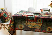 Bohemian colorful Tablecloth Linen Cotton Table Cloth Vintage blue Dining Tablecloth Rectangular home party Table Cover E137
