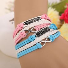 Hottest Fashion 2 pcs/pair pink blue Best Friend Forever Infinity antique silver multilayer bracelet Wholesale(China)