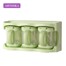 AHTOSKA Clear Seasoning Rack Spice Pots - 3 Piece Acrylic Seasoning Box - Storage Container Condiment Jars - Cruet with Cover(China)