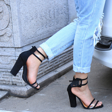 Women sandals 2017 buckle strap summer shoes woman fashion Super high heels Gladiator sandals clear women Sandalias PlusSize 43