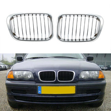 Hot Sale One Pair Plated Chrome Silver Front Grille Grilles for BMW E46 4 Door 98-01 Car Racing Grilles for BMW(China)