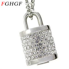 FGHGF personalized creative jewelry crystal rhinestone lock usb flash drives 8gb usb 2.0 diamond necklace pendrive gift(China)