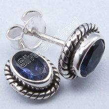 Pure Silver IOLITE Well Oxidized Tribal Indian Jewelry s Earrings 0.9CM1 Pair of Earring(China)