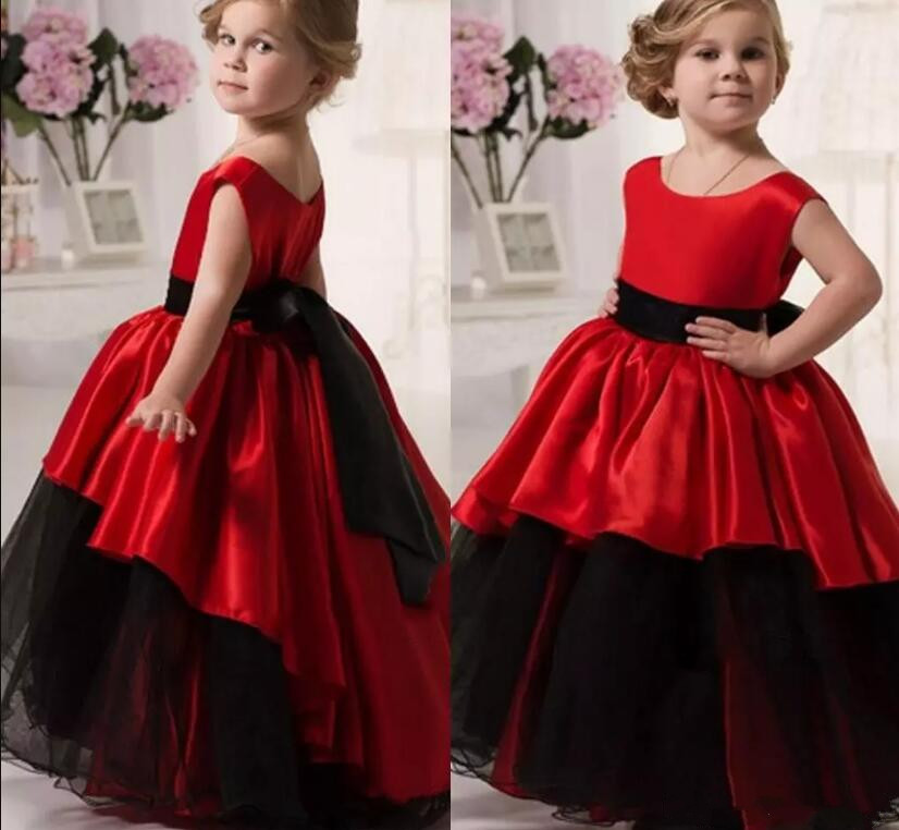 Red black formal dress for girls